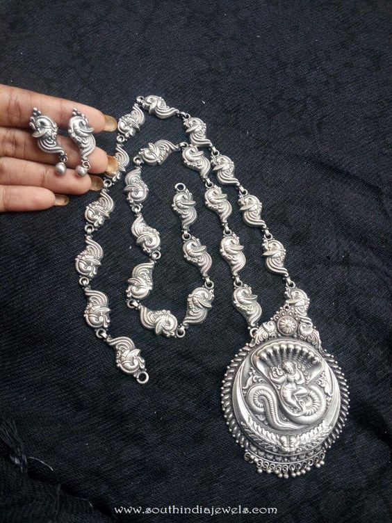 92.5 Sterling Silver Temple Necklae Designs, Silver Necklace Designs, Silver Jewellery Designs