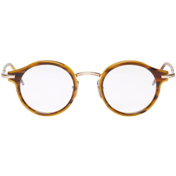 Thom Browne Tortoiseshell and Gold Round Glasses (43.485 RUB) ❤ liked on Polyvore featuring men's fashion, men's accessories, men's eyewear, men's eyeglasses, mens tortoise shell eyeglasses and mens round eyeglasses