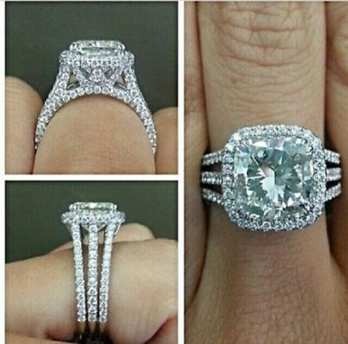 2.00Ct Cushion-Cut VVS1 Diamond Solitaire Engagement Ring 14K White Gold Over