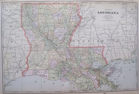 1901 Antique LOUISIANA  MAP Vintage 1900s Map Of LOUISIANA Atlas Map