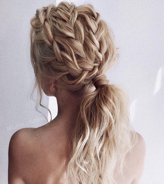 #hair #updo #bunbraid #braid #ponytail #blondehair