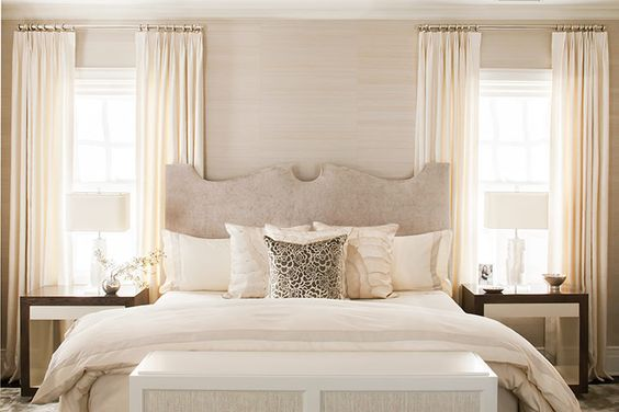 Neutral bedroom beige white ivory and taupe - Beige and white bedroom curtains ...