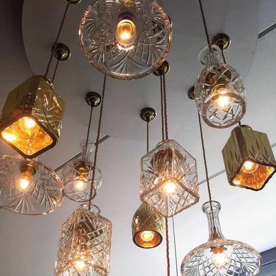 vintage lampshades made from cut glass decanters by Lee Broom at Milan Design Week.