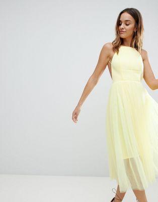 ASOS DESIGN - Robe chasuble mi-longue en tulle et en néoprène de qualité supérieure