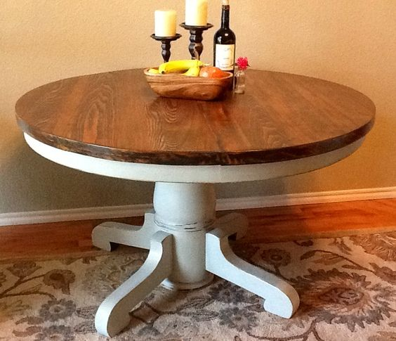 Vintage round pedestal table base painted pale gray lightly distressed top stained american - Painted dining tables distressed ...