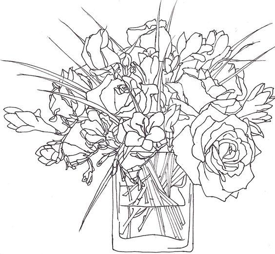 Blooms in a vase; Annie Brougham