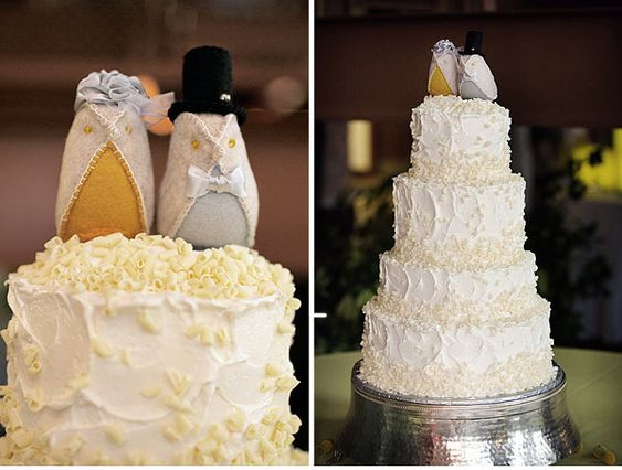 Felt Bird Cake Toppers on a 4 tier ivory and lemon cake