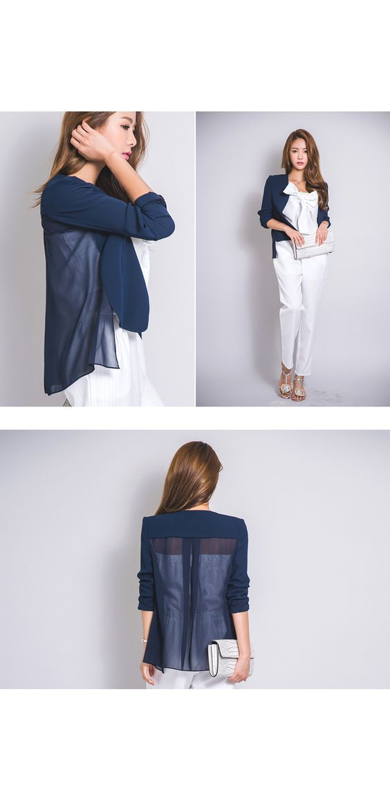 Open-Front Sheer-Back Jacket - ERANZI | YESSTYLE