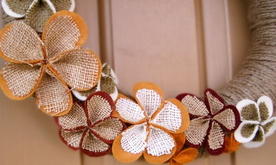 Felt and Burlap Fall Wreath by alexandranoel on Etsy, $45.00