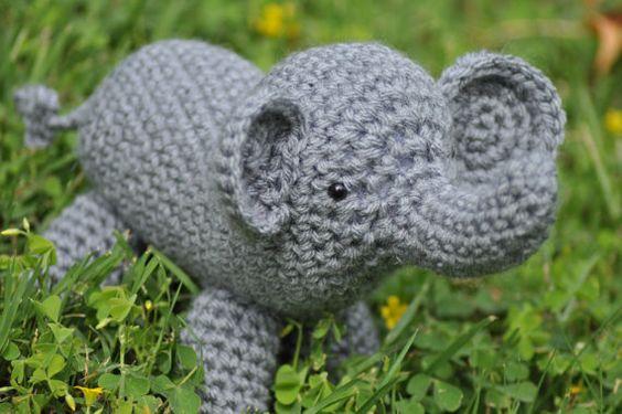 Crochet Elephant Stuffed Animal Amigurumi by HatsforHannah on Etsy, $18.00
