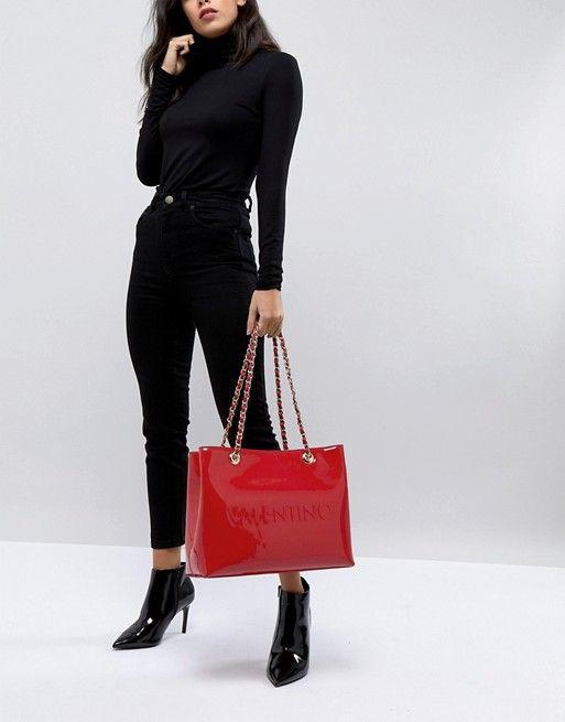 Valentino By Mario Valentino Patent Red Tote Bag Asos Mario Valentino Red Tote Bag Red Tote
