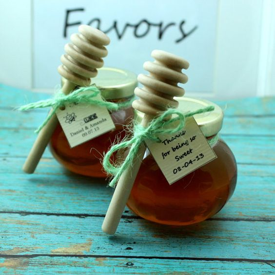 Honey Wedding Favors, Wedding Favour Jars And Raw Honey On