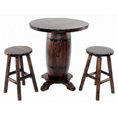 Red Shed Barrel Bistro Bar Table With 2 Stools Tractor
