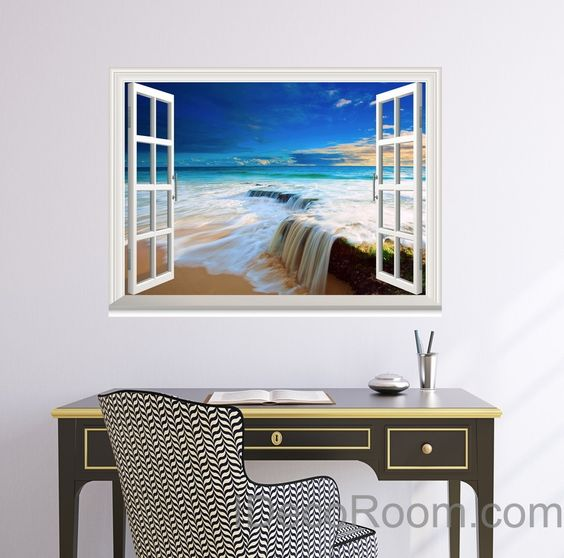 Surprising Beach Tide Ocean Cloud Blue Sky 3D Window View Wall Decals Wall Largest Home Design Picture Inspirations Pitcheantrous