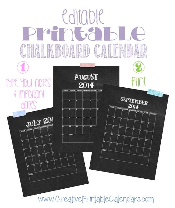 Calendar You Can Type On : Free printable chalkboard calendar its in word