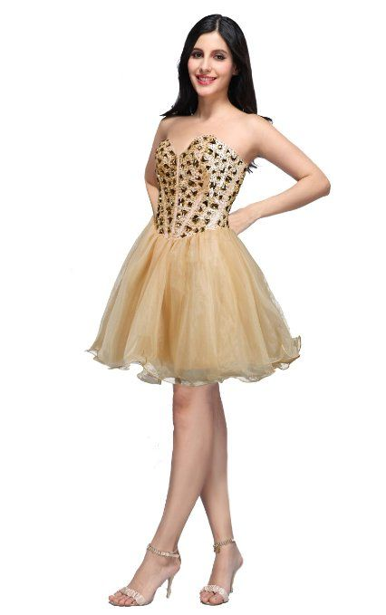 Short, gold party dress by Blush Prom. Love the back! | Prom Dress ...