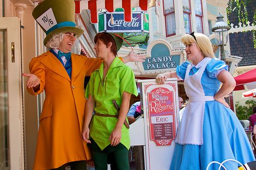 The Mad Hatter, Peter Pan, and Alice during Musical Chairs at Disneyland