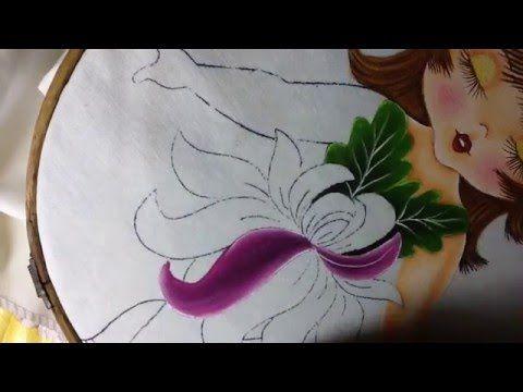 Pintura en tela niña crisantemo # 4 con cony - YouTube