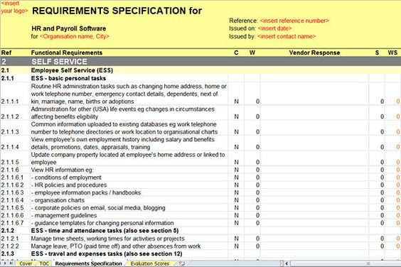 Software Requirements Document Template The Best Human Resource