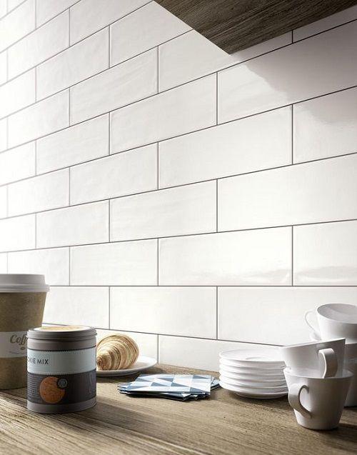 Mul 4 X16 Subway White Glossy Kitchen Wall Tiles Bathroom