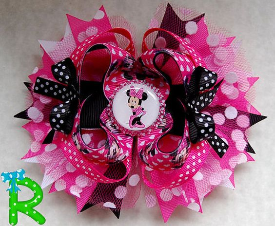 Minnie mouse hair bow, polka dot ott bow, disney boutique pink hair bow for girls