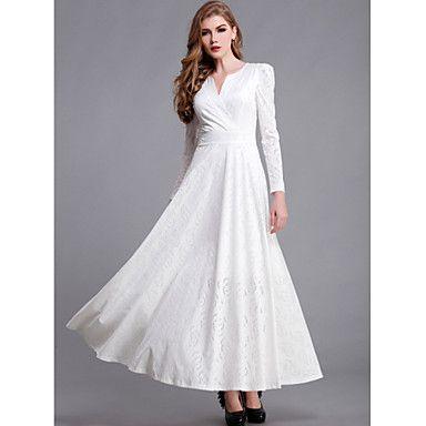 Deep V Collar Slim Dress(White)