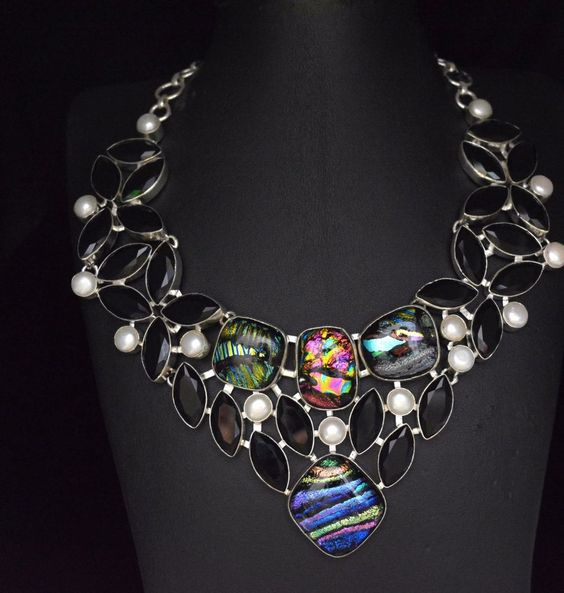 Dychoric Glass-Black Onyx-Pearl For Wamens Sterling Silver Plated Necklace E783 #valueforbucks #Bib