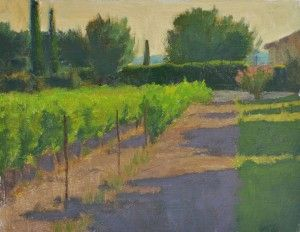 """""""Evening at the End of the Road"""" by Ian Roberts, on view at Marcia Burtt Studio through Jan. 6  http://sbseasons.com/blog/state-of-the-art-a-celebration-on-the-winter-solstice/#"""