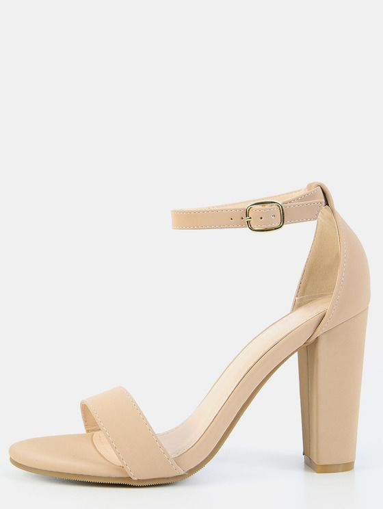 Single Sole Ankle Strap Chunky Heels NUDE | MakeMeChic.COM ...