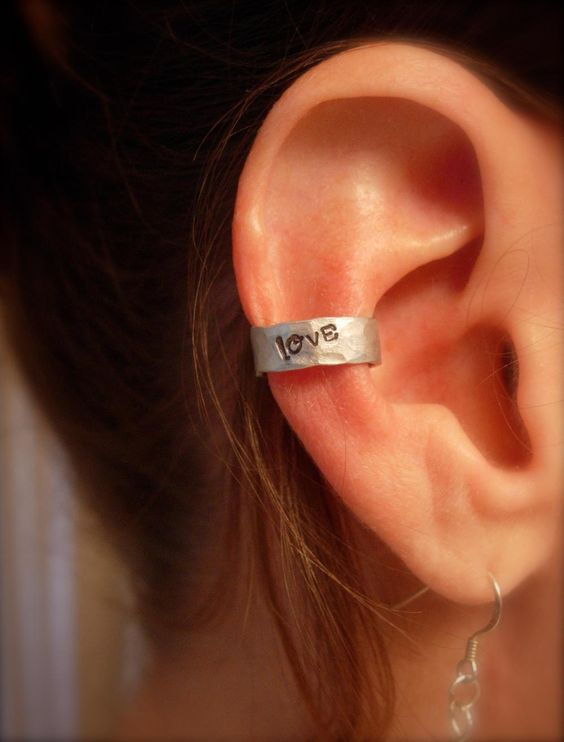 Ear Cuff, Hand Hammered Aluminum With LOVE Stamped Into The Metal And Blackened   Luulla