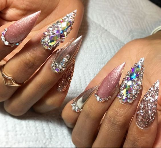 Pink Swarovski Glitter With Images Nail Designs Bling Nails