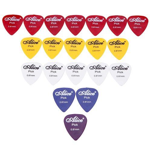 Alice AP-P 20pcs 0.81mm Smooth ABS Guitar Picks Plectrums