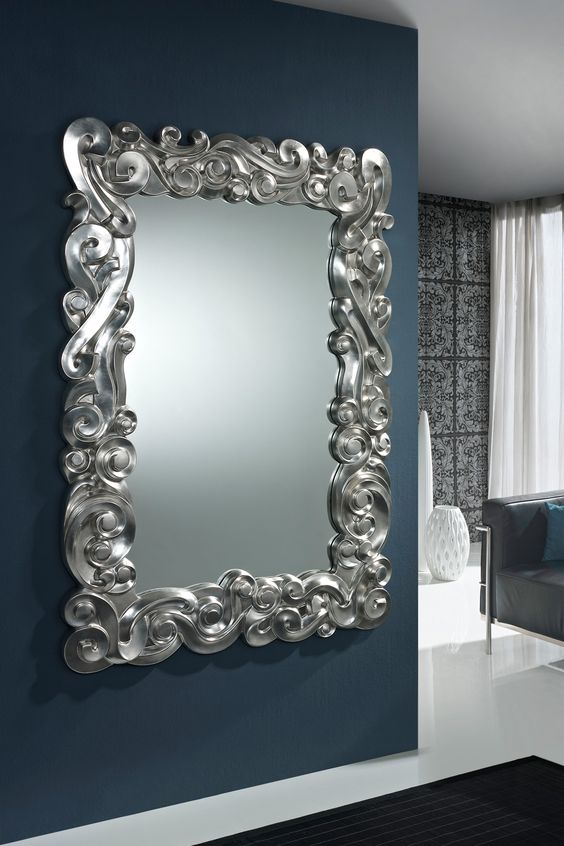 Miroir baroque silver miroirs de d coration murale for Recherche grand miroir