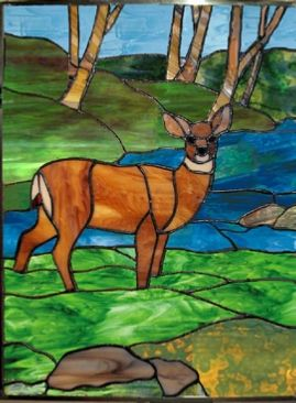 Woodland Deer Stained Glass Panel Stained Glass