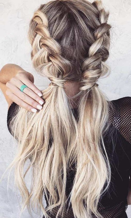 Cute Fun Hair Double Ponytail With Braids Hairstyles Braided Hairstyles Easy Cool Braid Hairstyles Long Hair Styles