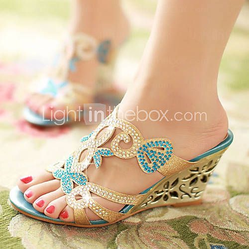 Women's Shoes Heel Wedges / Heels / Peep Toe / Slippers Sandals / Heels / Outdoor / Dress / CasualBlue   You think, Shoes heels and Woman shoes