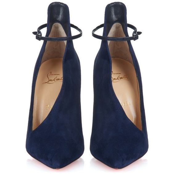 Christian Louboutin Vampydoly suede pumps (£695) ❤ liked on Polyvore featuring shoes, pumps, heels, scarpe, suede shoes, ankle wrap shoes, ankle strap shoes, christian louboutin shoes und navy shoes