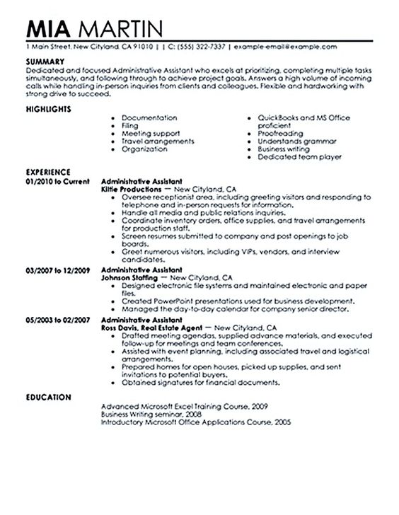 curriculum vitae for administrative assistant