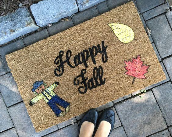 Custom Door Mat, Welcome Mat, Happy Fall Door Mat, Door Mat, Painted Doormat…