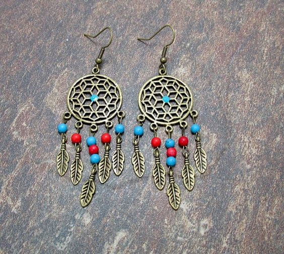 Antique Bronze Dream Catcher Earrings With by SpiritualPathways, $12.00