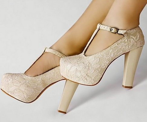 Ivory Lace Flower T Strap Platform Dancing High Heel Women Shoes