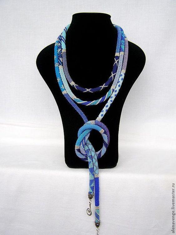 """Купить Длинный жгут из бисера """"Джисовый"""" в серебре - синий, голубой, сиреневый, серебро, серебристый"""