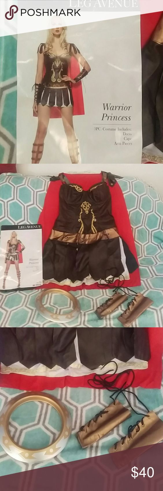 Warrior Princess costume 3PC Warrior Princess costume. Includes dress, cape and arm pieces. I am including the metal ring as an accessory that was used at the store. Used once. Open to offers!!!! Other