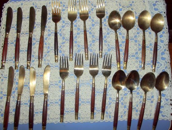 Vintage Set of 32 Gilded Silver plated Cutlery by BountyFromThePast on Etsy