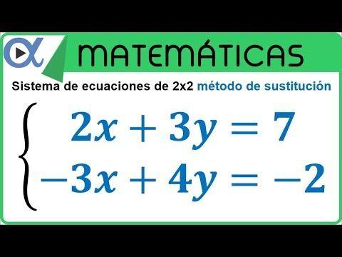 Sistema De Ecuaciones De 2x2 Método De Sustitución Ejemplo 5 Youtube Sistemas De Ecuaciones Ecuaciones Problemas Matemáticos