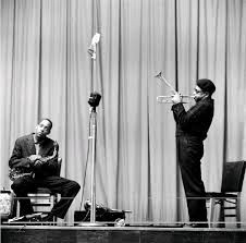 I HEAR YOU, BRO YOU SURE CAN BLOW...  Sonny Stitt (seated) and Dizzy Gillespie,  NY 1953