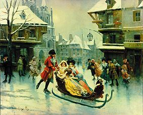 """""""Elegante Gesellschaft bei Eisvergnügen auf einer gefrorenen Strasse"""" von Alonzo Perez (geboren im Jahr 1881 in Saragossa, Spanien, gestorben im Jahr 1914), spanischer Maler, über den leider wenig bekannt ist."""