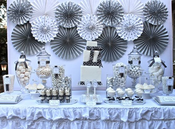 silver & white 25th birthday party celebration & dessert table: