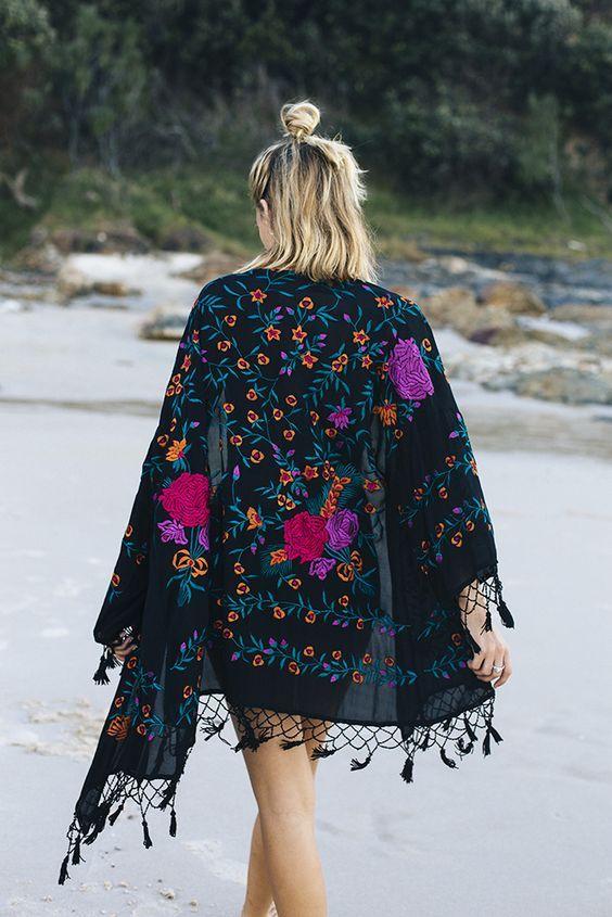 TINY FLOWERS Fringe Kimono,Boho Kimono,Bohemian Kimono,Cardigan,Beach Cover Up,Light Kimono