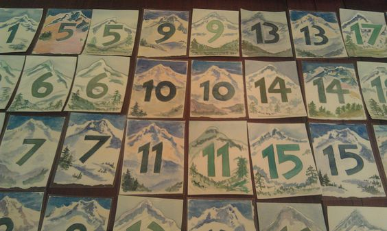 Table numbers for banquets or weddings...water colored mountains on Arches paper.  Easy!  Even for a beginner, which I am!  LOL :)